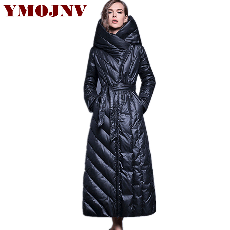 YMOJNV 2018 New Arrival Lengthening Hooded Women's   Down   Jacket Winter   Coat   Female Slim Large Size Outerwear manteau femme hiver