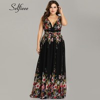 Plus Size Party Dress 2019 New Elegant A Line V Neck Sleeveless Floral Print Beach Summer Dress Women Robe Femme Vestidos