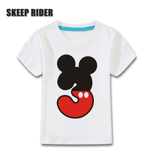 Novelty Kids Happy Birthday Letter Bow Print Funny T shirt Boys and Girls Tees Children Number 1-5 Present Clothes