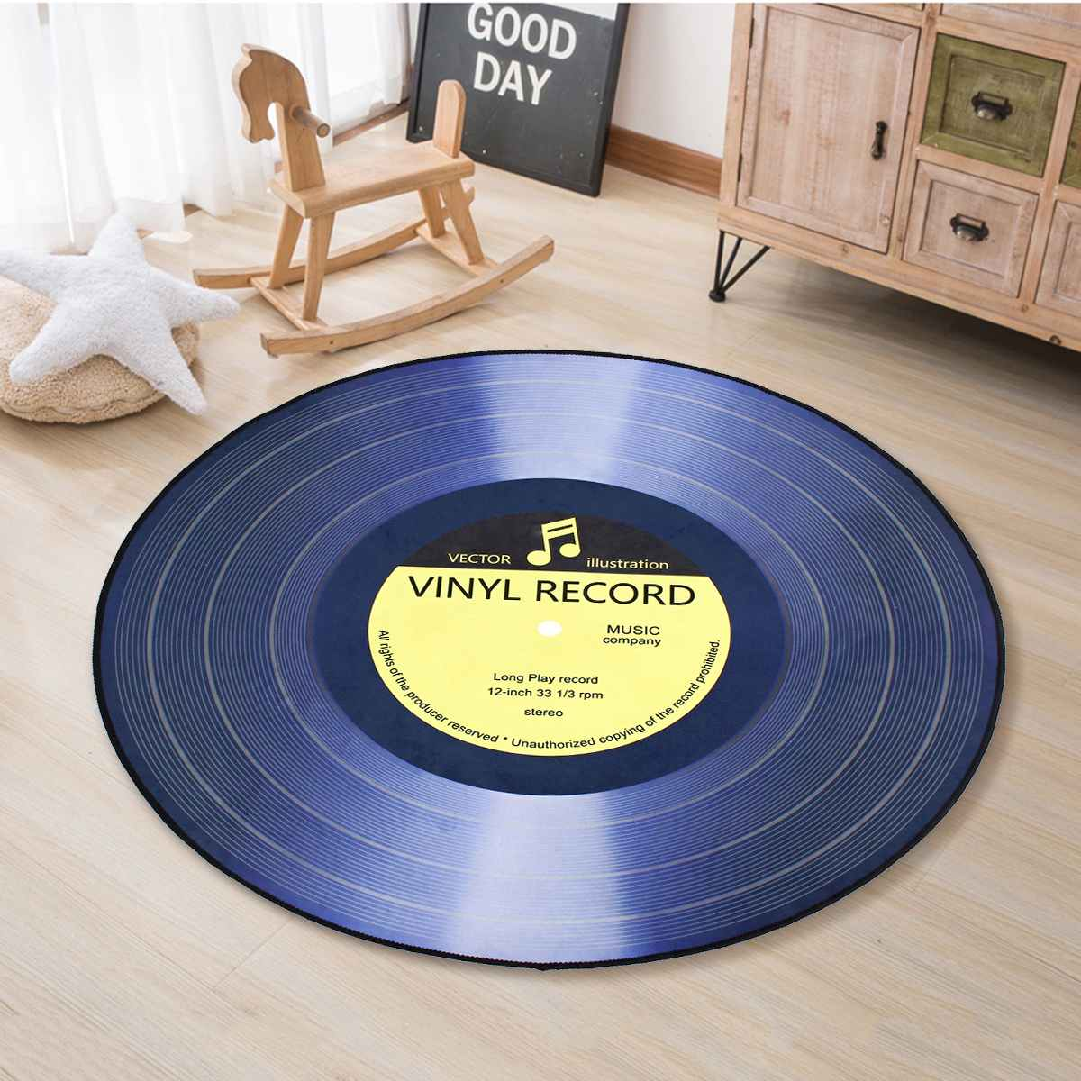 4 Sizes Round Carpet Rugs Floor Mat 3D Vinyl Record Printed Carpets Bedroom Kids Room Chair Home Decor Living Room Anti Slip