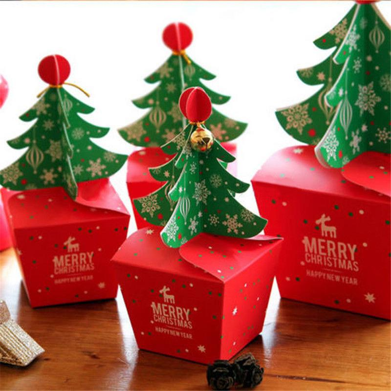 11.5x11.5 Cm Christmas Tree Packing Box Cupcakes Dessert Cookies Candy Gift Apple Boxes With Bells Golden Cord
