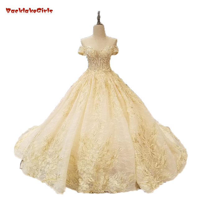Muslim Wedding Dress In Dubai White Champagne And Gold Lace Off The  Shoulder Sleeves Wedding Gown Beaded Lace Vestido De Noiva e7920c9e42f4