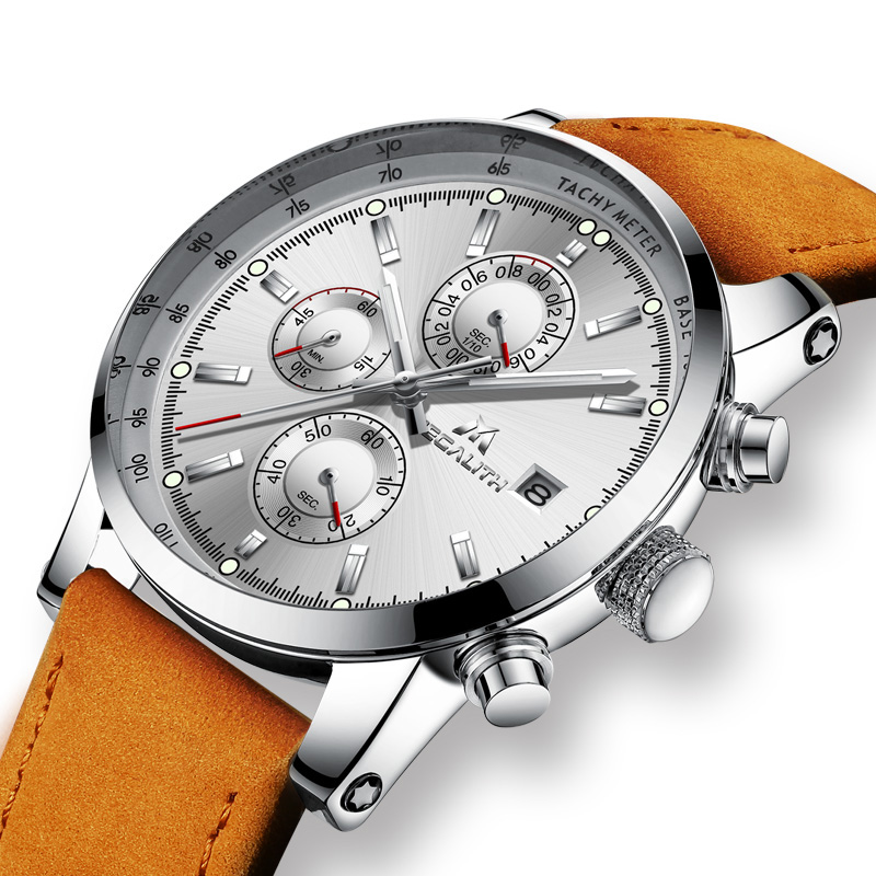 MEGALITH Men's Watch Luxury Waterproof Quartz Wrists Watches Brown Leather Chronograph Sports Analogue Watch Relogio Masculino Quartz Watches    - title=