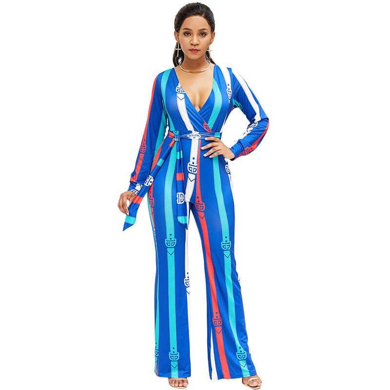 Модные женские комбинезоны, специальный ремень, Африканский принт, глубокий v-образный вырез, длинные рукава, широкие брюки, комбинезоны, комбинезон, синий/желтый