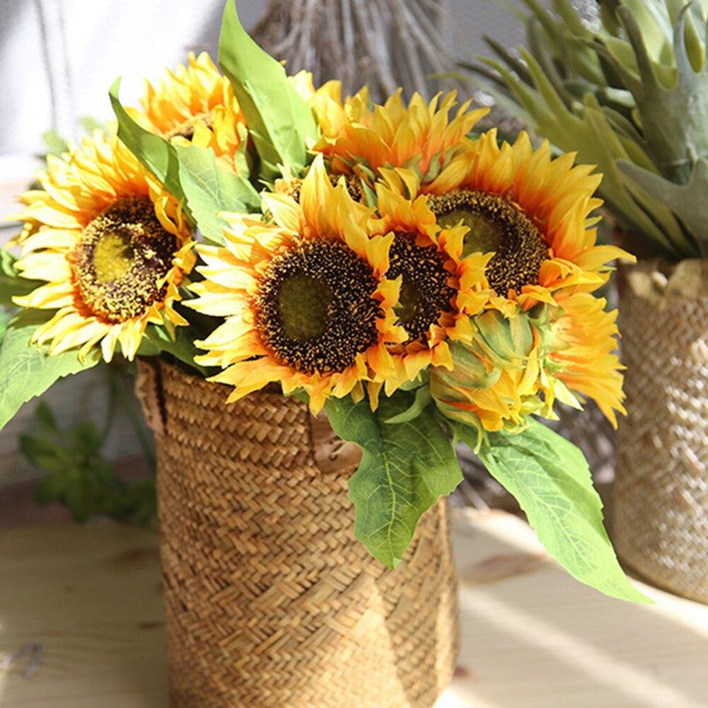 7pcs/lot Sunflower Artificial Flower For Wedding Party