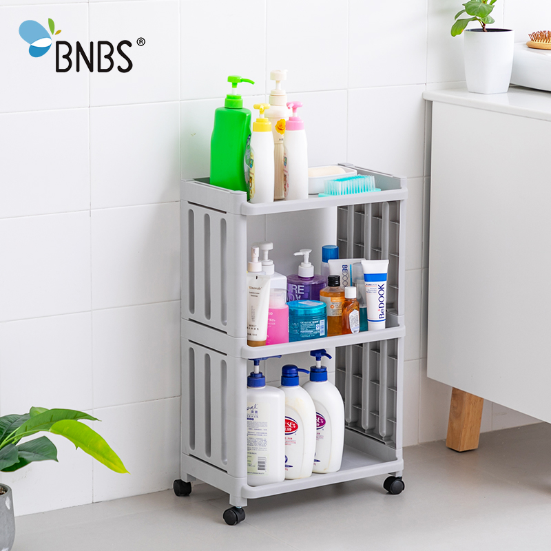 Bathroom:  BNBS Bathroom Organizer Multi-Layer Holder Bathroom Rack Shelf Towel Storage Rack Shelves Removable With Wheels Kitchen - Martin's & Co