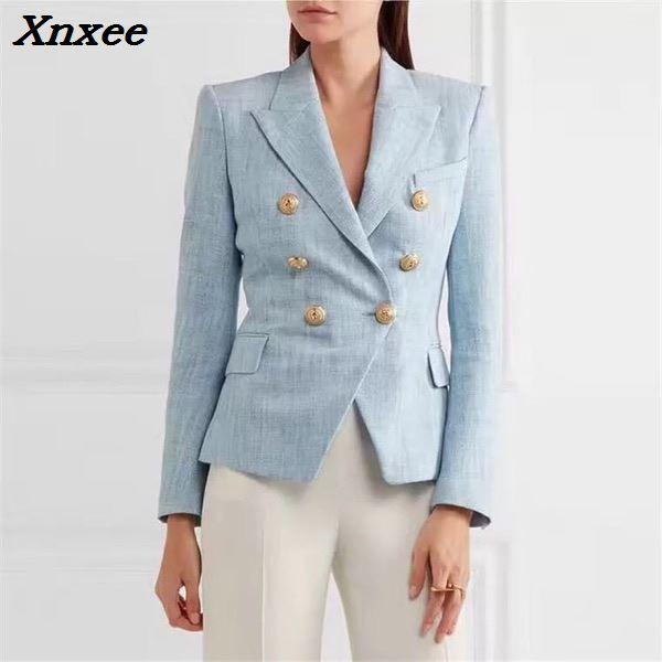 Kadın Giyim'ten Blazerler'de Kadın blazer uzun kollu kruvaze metal aslan düğmeleri ceket ceket resmi ofis bayan moda blazer feminino giyim'da  Grup 2