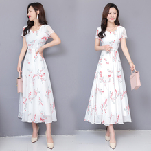 2019 Make new summer  thin big pendulum printed fairy long dress korean maxi for women plus size chiffon birthday