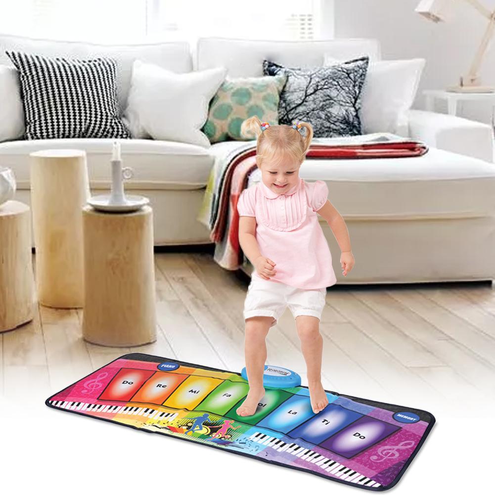 Tapis de jeu multifonctionnel brillant de Piano d'arc-en-ciel de couverture de danse de musique des enfants