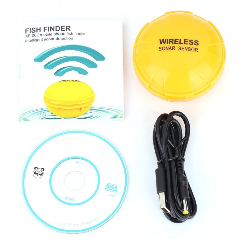 Portable Fish Finder Bluetooth Link Wireless Remote Fish Sonar Sensor 36M Water Depth 90 Degree Finder