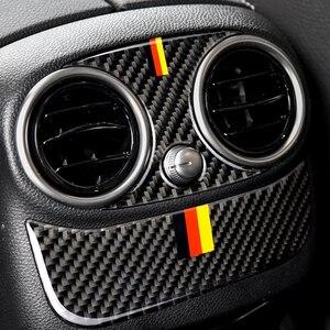 Image 5 - Para Mercedes Benz Clase C W205 C180 C200 C300 GLC de fibra de carbono compartimento central para coche para aire acondicionado trasero aire cubierta de salida de ventilación