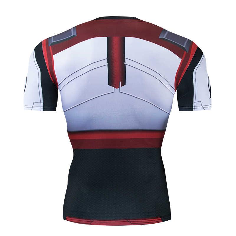 Горячие Мстители 4 эндгейм Квантовая война 3D печатных футболки обтягивающая мужская кофта Железный мужской костюм для косплея короткий рукав топы для мужчин