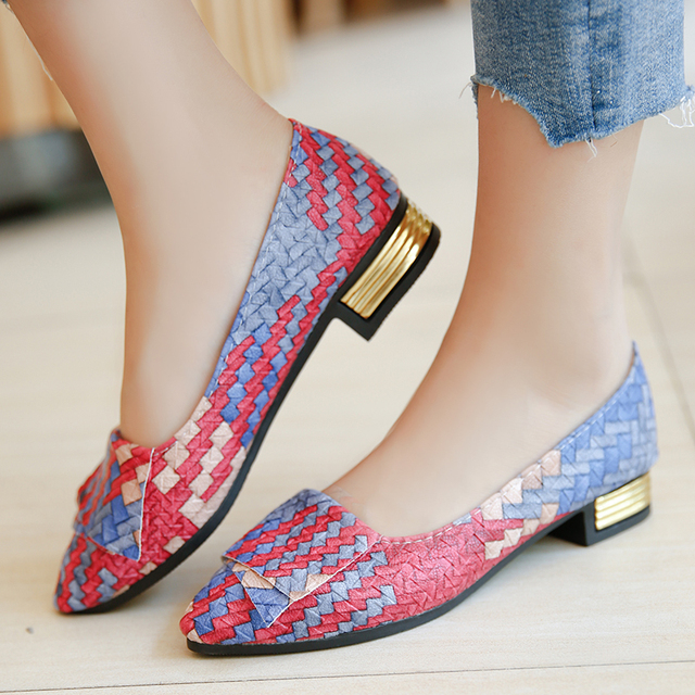 2019 New Flat Shoes Woman Printed Leather Pearl Soft Bottom Women Shoes for Knot Flats Women Work Shoes Zapatos Mujer