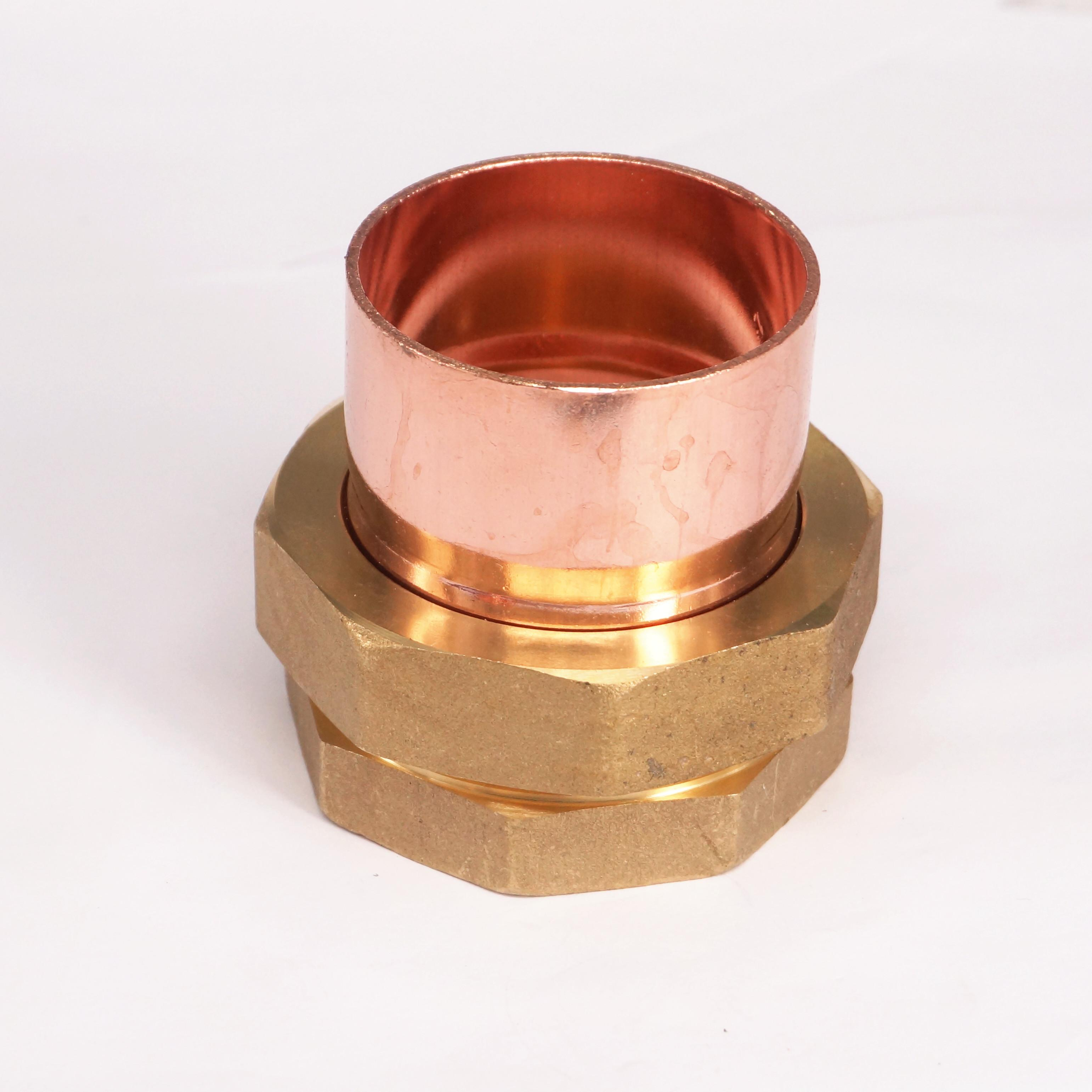 2 BSP Female Thread x 54mm Inner Diameter Brass Socket Union to Copper End Feed Pipe Fitting for water gas oil