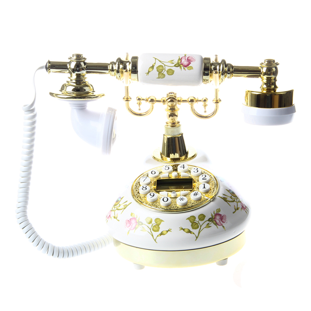 Antique Designer Phone nostalgia telescope vintage telephone ceramic MS-9100 Floral Corded Phone 1
