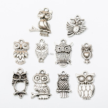 Owl Charms 10pcs Antique Silver Color Owl Charms Pendants For Bracelets Small Owl Charms Making Jewelry owl