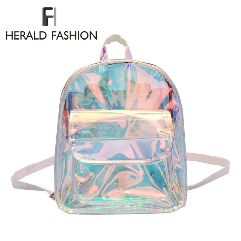 Herald Fashion Transparent Holographic Backpacks Korean Style Small Backpack For Girls Shining Shoulder Bags Mochilas Feminina