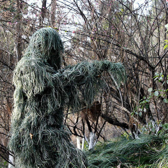 Outdoor Hunting Bird Watching Stealth Ghillie Clothes Suit Army Fan Field Camping Training Shooting Sniper Tactical Military Set 3