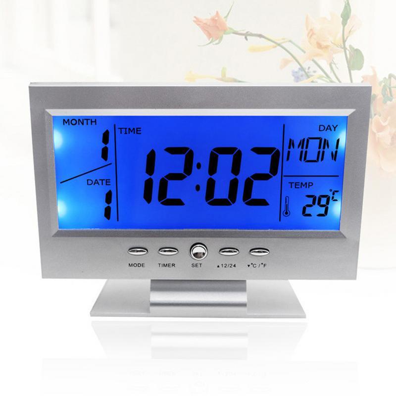 Digital Alarm Clocks LCD Electronic Table Clocks Sound
