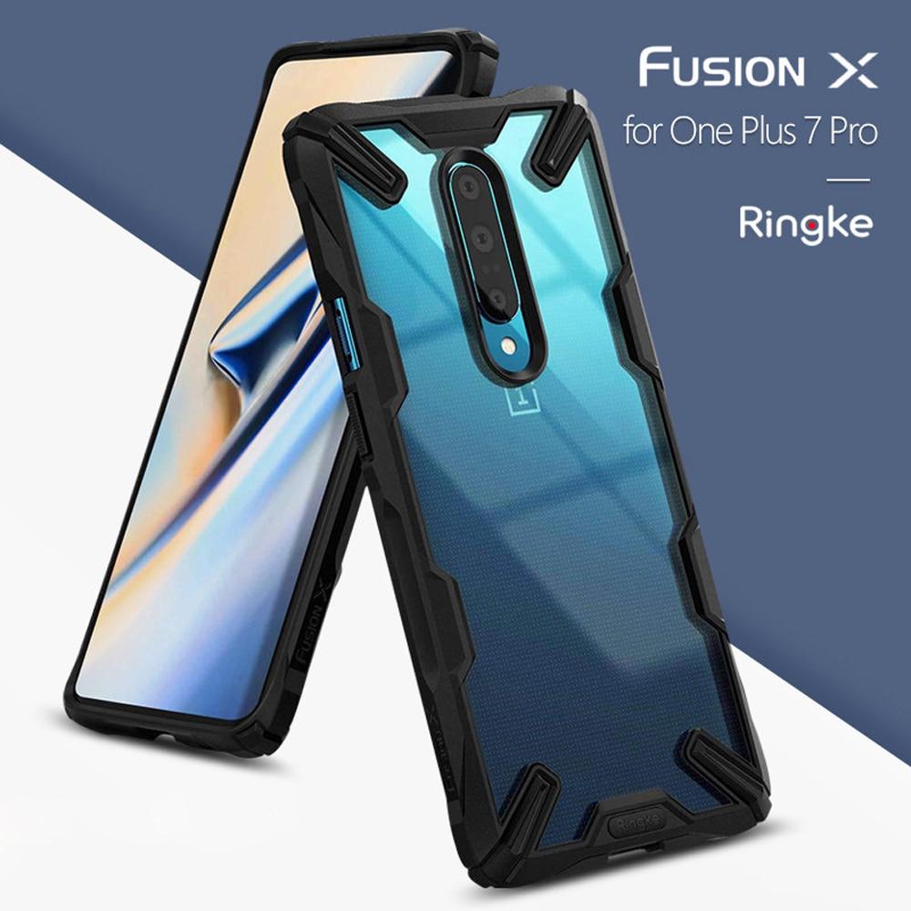 Ringke Fusion X pour Oneplus 7 Pro coque double couche PC coque arrière transparente et coque souple en polyuréthane thermoplastique hybride Protection anti-chute robuste