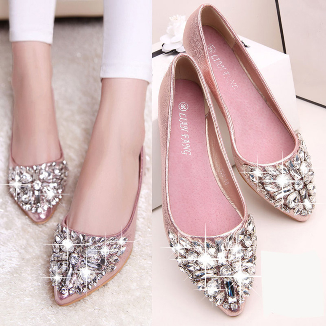2019 New Women Flat Shoes Shiny Crystal Ballet Shoes Pointy Toe Bling Rhinestone Flats Pink Silver Casual Shoes Women Footwear