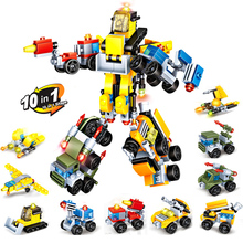 10 in 1 bulk set Building block toy Robot Car Transform Robot Plastic Model Children's Educational Building Blocks Bricks toys