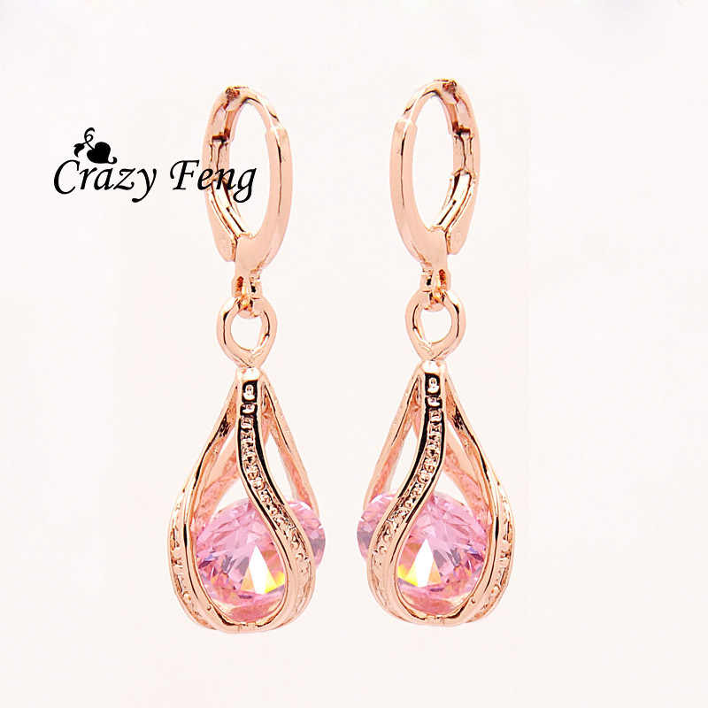Free shipping New Fashion Women/Girl's  Rose  white/pink/purple/green CZ  Pierced Dangle Earrings Jewelry