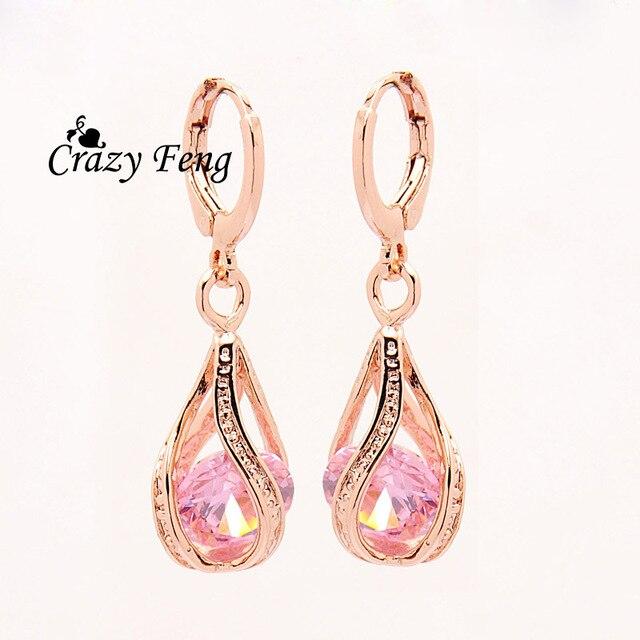 Free shipping New Fashion Women/Girl's Rose white/pink/purple/green CZ Pierced D