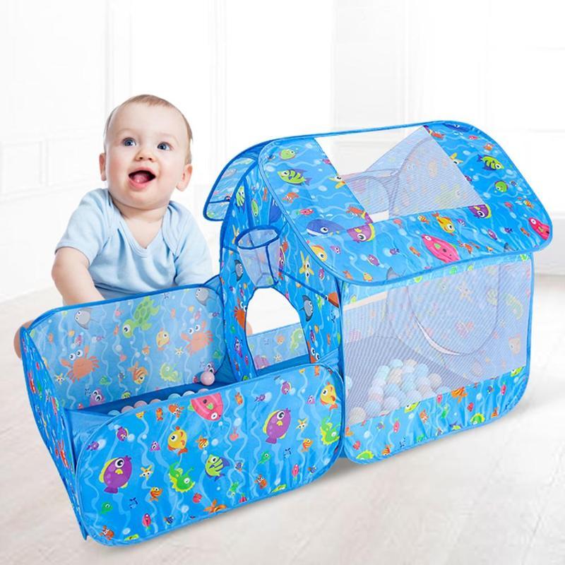 3 pièces/ensemble enfants jouets Tunnel tente série océan dessin animé jeu grand espace balle fosses Portable piscine pliable Sports de plein air tentes