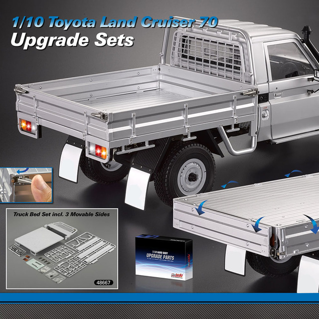 US $65 8 25% OFF GOOLSKY ABS Truck Bed Set 3 Movable Gate Strong And  Durable For 1/10 Toyota Land Cruiser 70 Truck Pick up Truck RC Car Parts-in  Parts