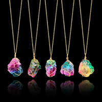 Mood Changing Stone Necklace Irregular Natural Crystal Chakra Rock Colorful Stone Quartz Pendant Necklace