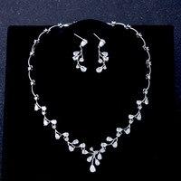 Pear Cut Zircon Necklace Earring Jewelry Set for Wedding Bride Choker Cubic Zirconia Choker Pierced Drop Earrings Jewellery Gift