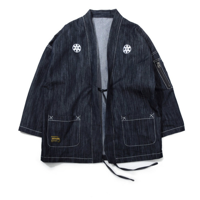 #4204 Japanese Men Kimono Jacket Streetwear Fashion Cardigan Denim Windbreaker Jackets Men Harajuku With Embroidery Plus Size 2