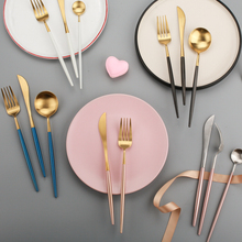 Knife, fork, spoon, teaspoon, long handle fruit fork set 304 stainless steel pink, gold, black and silver fashionable tab