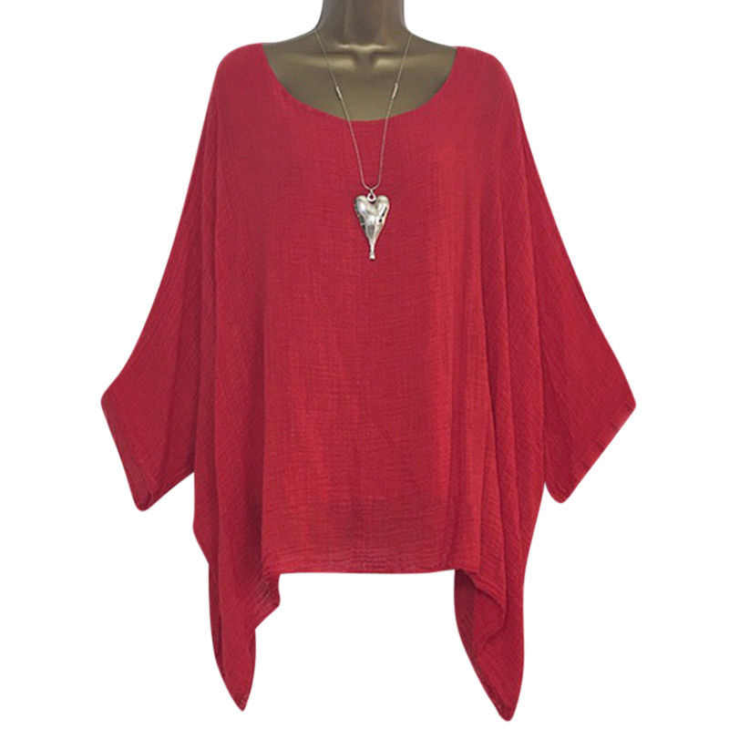 Women shirt Oversized Loose Batwing Long Sleeve Shirts Baggy solid color plus size summer ladies Tops Blouses Fashion chemise