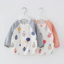 Children's Waterproof Apron Eat Toddler Bibs Baberos Bavoir Clothing Long Sleeve Apron Children Feeding Smock Bib Burp Clothes