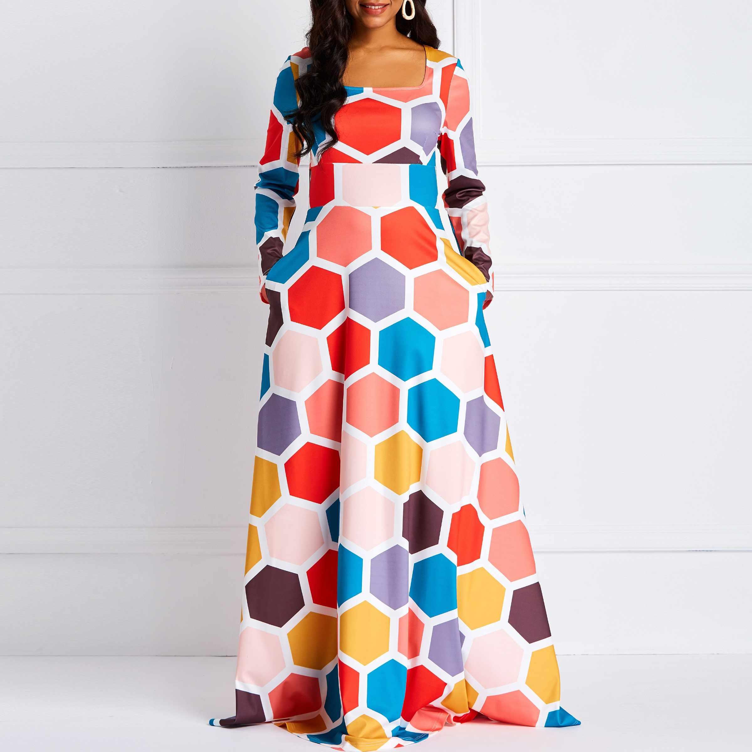 Colour Block Plus Size Dresses   Saddha