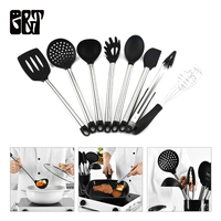 GT 8pcs Cooking Spoon Set Black Kitchen Cooking Tool Sets with Stainless Stand Including Tongs Spoons Spatula Ladle Whisk