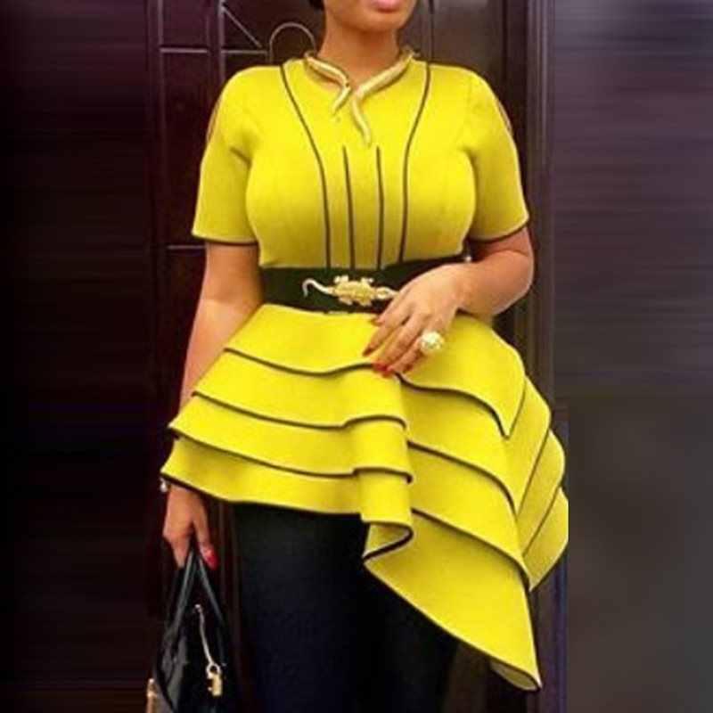Африканские женские желтые блузки летние топы с коротким рукавом элегантные большие размеры винтажные полосатые офисные женские футболки с оборками