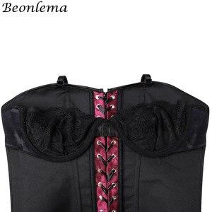 Image 5 - Beonlema גבירותיי סקסי Bustier גותי יין אדום Overbust לשרוך את מחוך גוף דוגמנות רצועת Korset נשים בתוספת גודל סקסי Clubwear