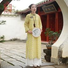 LZJN 2019 Spring Autumn Floral Print Robe Traditional Chinese Women Dress Long Sleeve Oriental Cheongsam Qipao