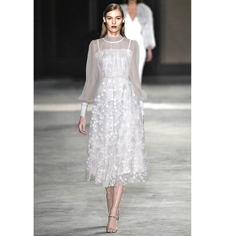 rockabilly white pink appliques sheer embroidery dress high collar long sleeve overseas summer dress ball gown