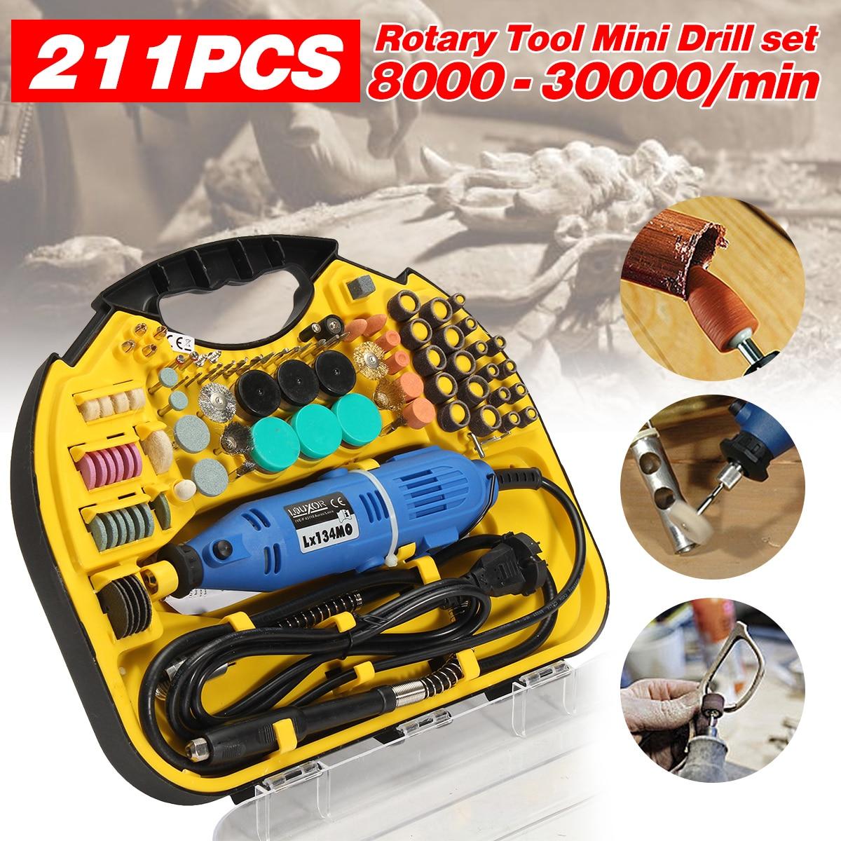 220V/110V 50-60Hz US Plug 211Pcs Electric Rotary Drill Grinder Engraver Sander Polisher DIY Craft Tool Set Cable Length 1.8m