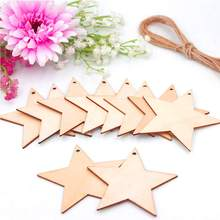 50 PCS Wooden Pentacle Hanging Ornaments Laser Cut Pre-Cut Hanging Christmas Tree Living Room Decoration DIY(China)