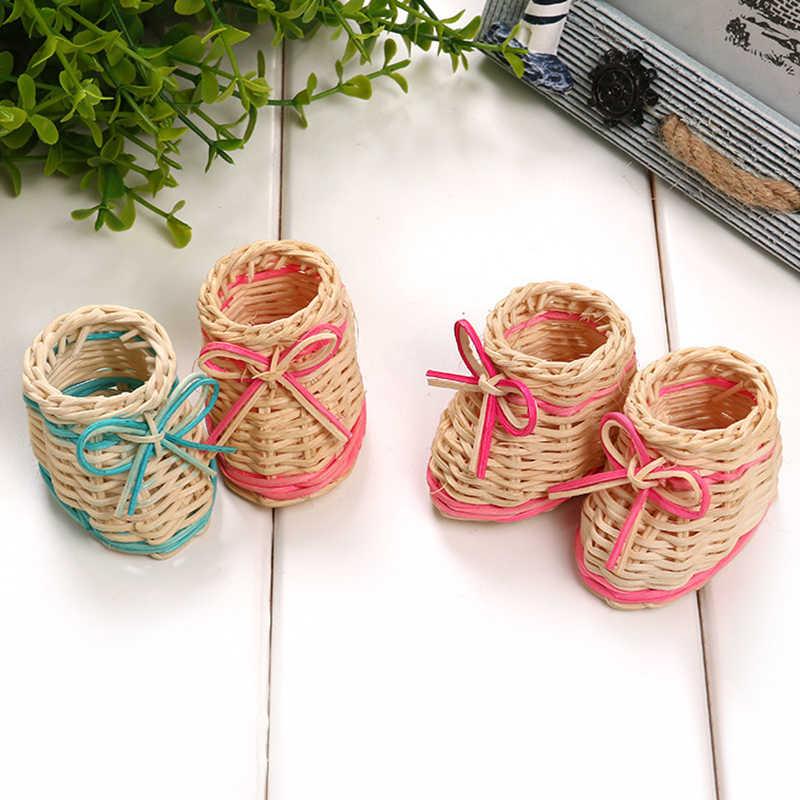 Bonito Sapato Palha Cesta de Flores Secas Vaso de Mesa Com Função De Armazenamento