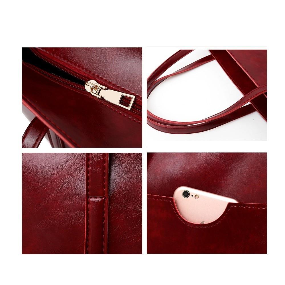 TTOU 4pcs/set Leather Bags Women Handbag Set Luxury Handbag Women Bags Designer Black Handbag Ladies Hand Bag Purse Female 5