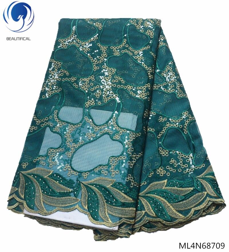Красивая зеленая кружевная ткань с тяжелыми пайетками кружевная ткань новейшее Высокое качество африканская Тюль кружевная ткань 2019 для ч