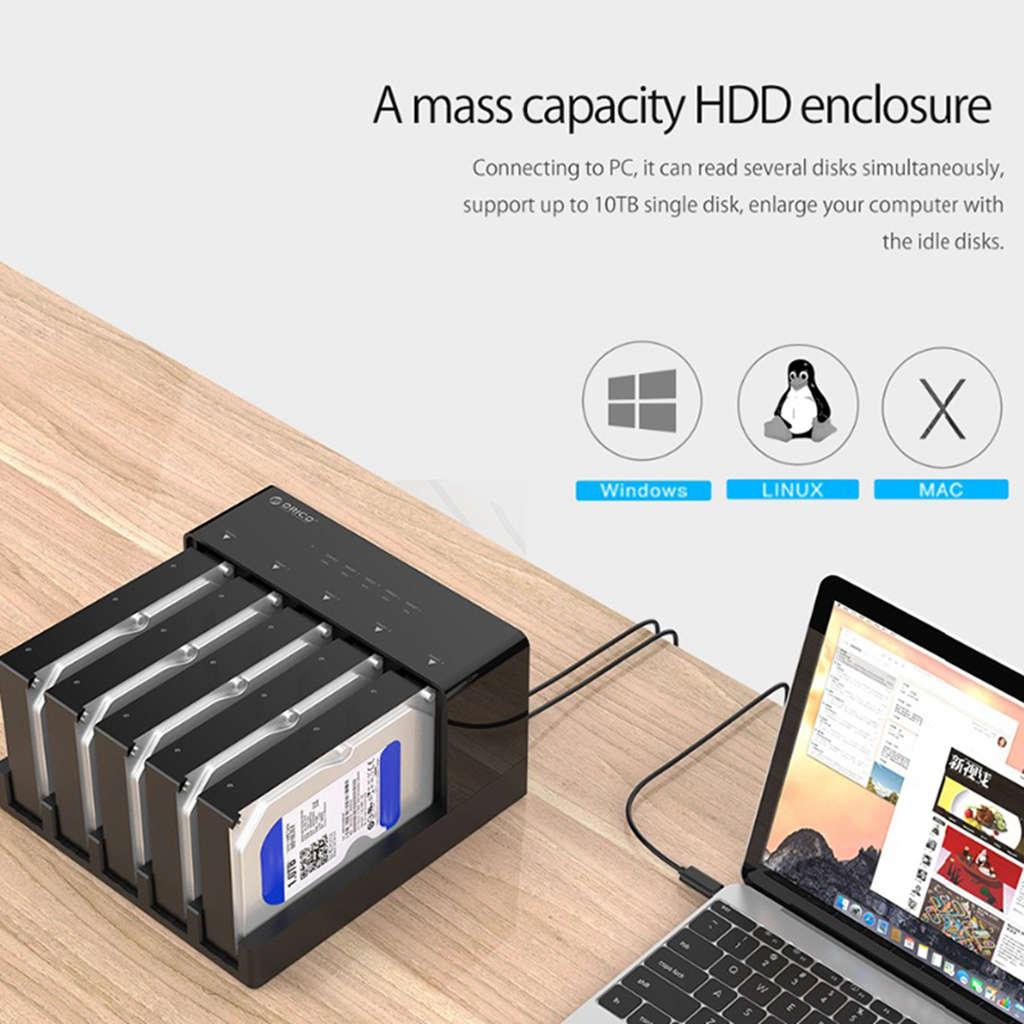 Orico 6558Us3-C 5 baie Super vitesse Usb 3.0 HDD Station d'accueil sans outil USB 3.0 vers SATA boîtier de boîtier de disque dur adaptateur - 3