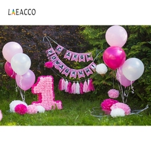 Laeacco Outdoor Grassland Birthday Party Balloons Photography Backgrounds Customized Photographic Backdrops For Photo Studio