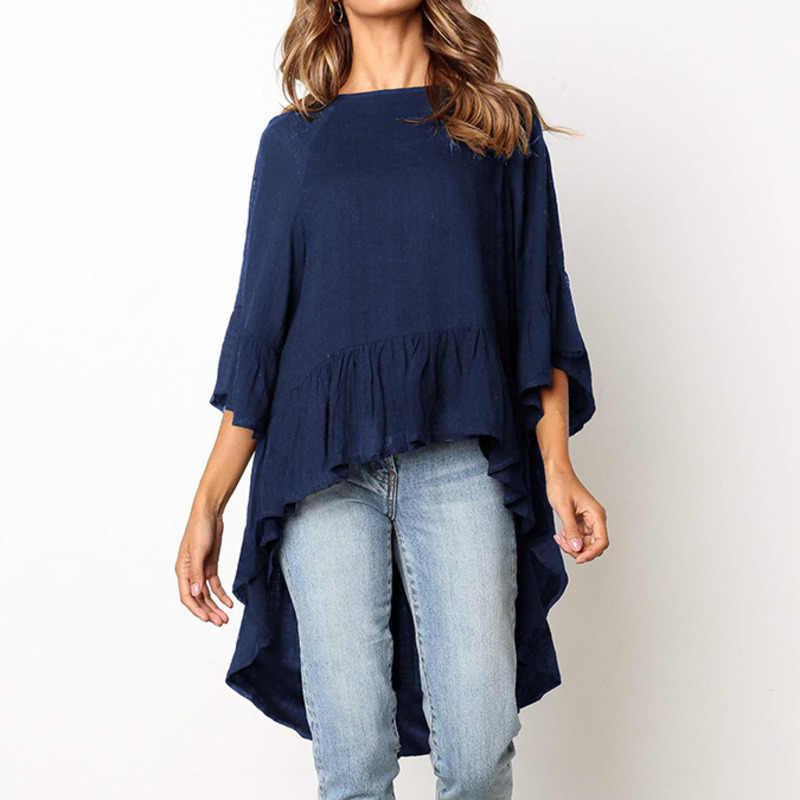 2019 Свободная Женская Летняя Повседневная модная футболка с рукавом три четверти женская футболка белая черная Синяя женская футболка